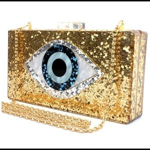 Handbags - Gold Evil Eye Clutch 🧿